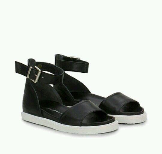 Bruno Bordese Sandalias De Cuero Para Mujer Zapato Negro Talla RRP -