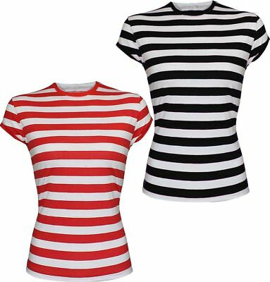 Ladies Womens Red /& White Striped T-Shirt Short Sleeve Womens Top Fancy Dress