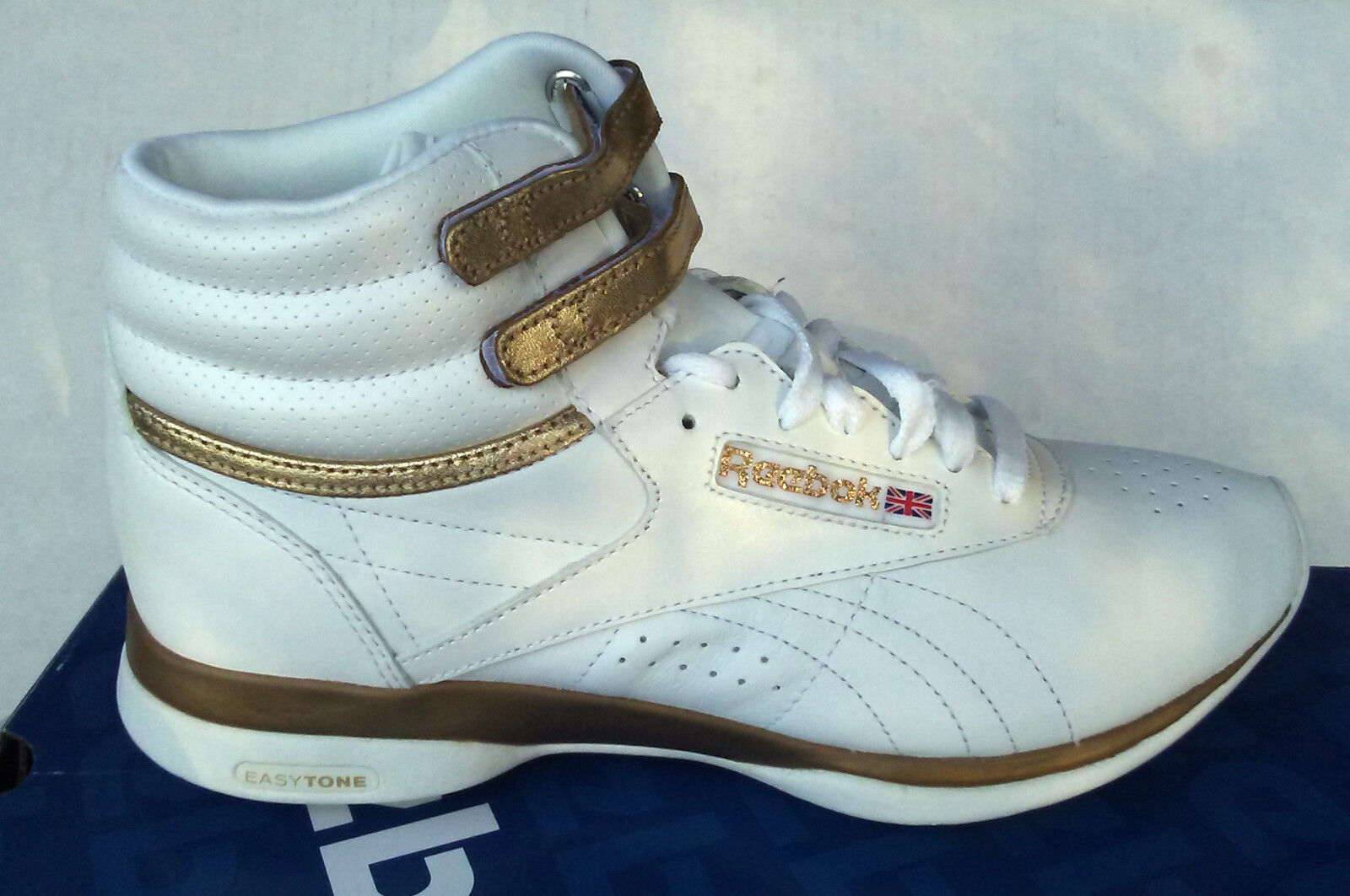 REEBOK CLASSIC aerobic FREESTYLE EASYTONE HIGH TOP blanc or or or chaussures femmes 771a99