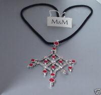 M & M Kette Collier Korallenkette Koralle Zirkonia Kordelband Rot Filigran Damen
