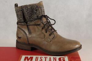 Mustang-Botines-Botas-de-Cordon-Botas-Marron-Gris-Topo-1265-Nuevo