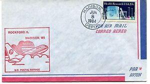 Constructif Ffc 1984 First Flight Rockford Illinois Madison Us Postal Service Uspo Prix De Vente