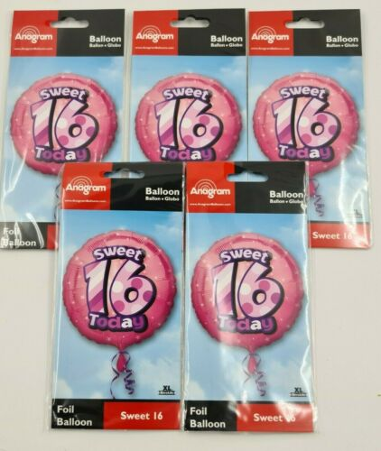 """5 Pack 18/"""" Round Happy Sweet 16th Birthday Foil Helium Party Balloon job lot"""