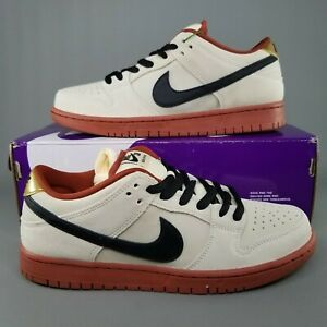 Nike-SB-Dunk-Low-Pro-Hennesey-Muslin-Skate-Shoes-Mens-Size-8-Tan-Black-Dark-Red