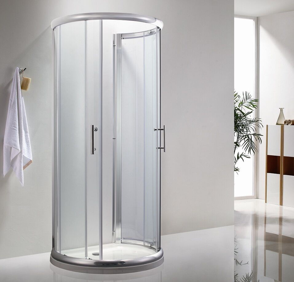 D Shaped Shower Enclosure 6mm Glass 900x770mm Cubicle & SHOWER TRAY ...