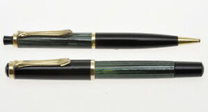 Pelikan-400-vintage-green-black-set-Fountain-pen-amp-Pencil-Gunther-Wagner-Exc