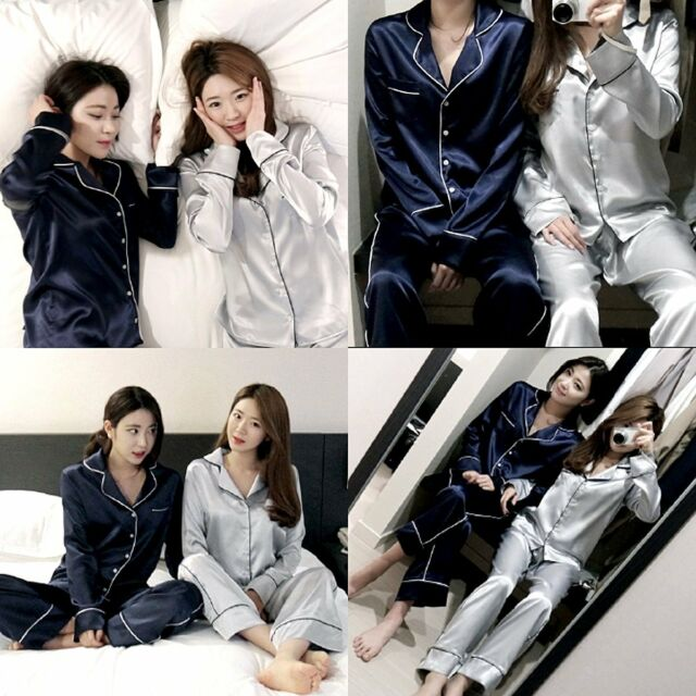 Womens Silk Satin Pajama Sets Long Sleeve Leisurewear Sleepwear Homewear Robes