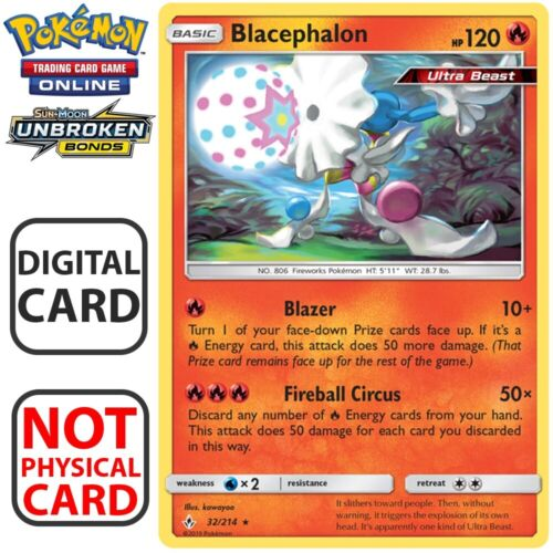 2 x Blacephalon 32//214 Unbroken Bonds pour Pokemon Carte Online Trading Card Game digital