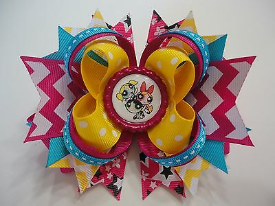 """The Powerpuff Girls"" Handmade Boutique Stacked Bottle Cap Hair Bow  5.0"" x 4.5"""