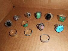 Lot of 12 Old Antique Vintage Southwestern Sterling Silver Rings Estate