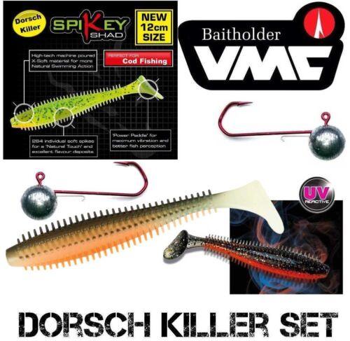 VMC Baitholder 6//0 60 g Morue Killer 3 UV Couleurs Set Fox Rage Spikey 12 cm