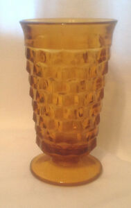 COLONY-INDIANA-GLASS-WHITEHALL-AMBER-PATTERN-FOOTED-ICED-TEA-GOBLET-TUMBLER-EC