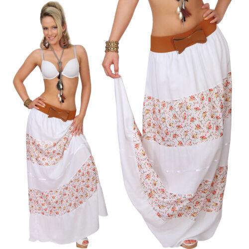 Kleid Hippie Ethno Rock Schleife Blumen Boho Maxirock Strand Gürtel Sommerrock