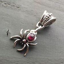 AA Garnet Tibetan Silver Spider Pendant Gothic Biker Wicca Pagan Reiki Chakra