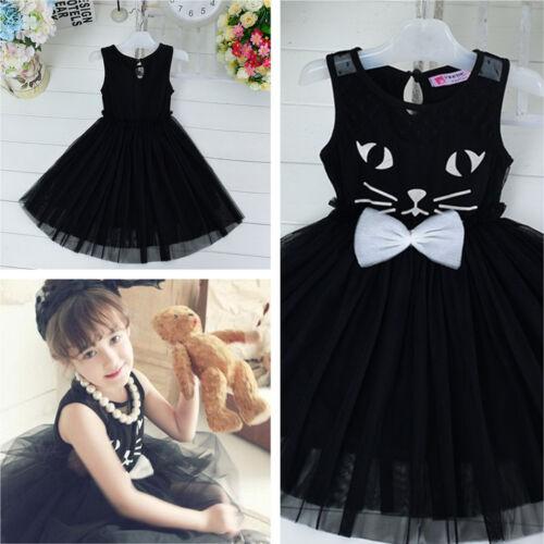 2018 Kids Girls Toddler Baby Princess Dress Bow Black Lace Tutu Dress Cute Cat