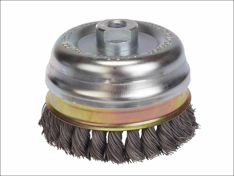 Lessmann-nodo cepillo 65mm m14 x 20 x 0.50 alambre de acero inoxidable