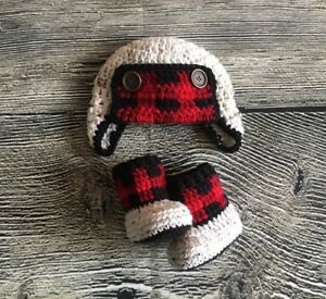 Buffalo Check Plaid Baby Boy Aviator Hat And Booties Crochet Outfits Photo Prop Ebay
