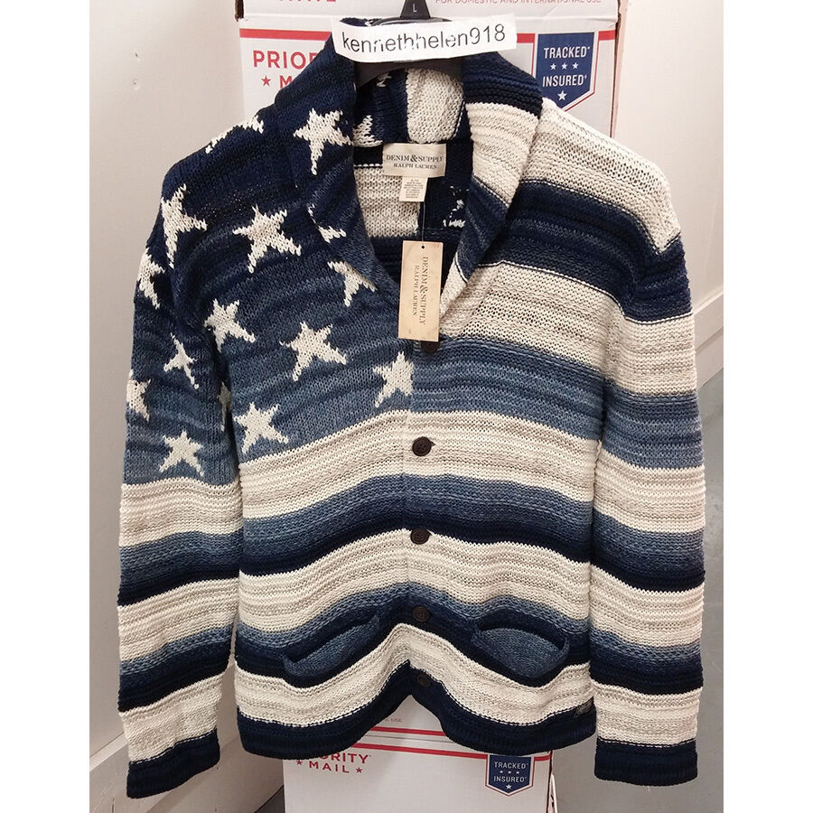 DENIM & SUPPLY RALPH LAUREN  Herren FLAG GRAPHIC CARDIGAN SWEATER SIZE XLARGE