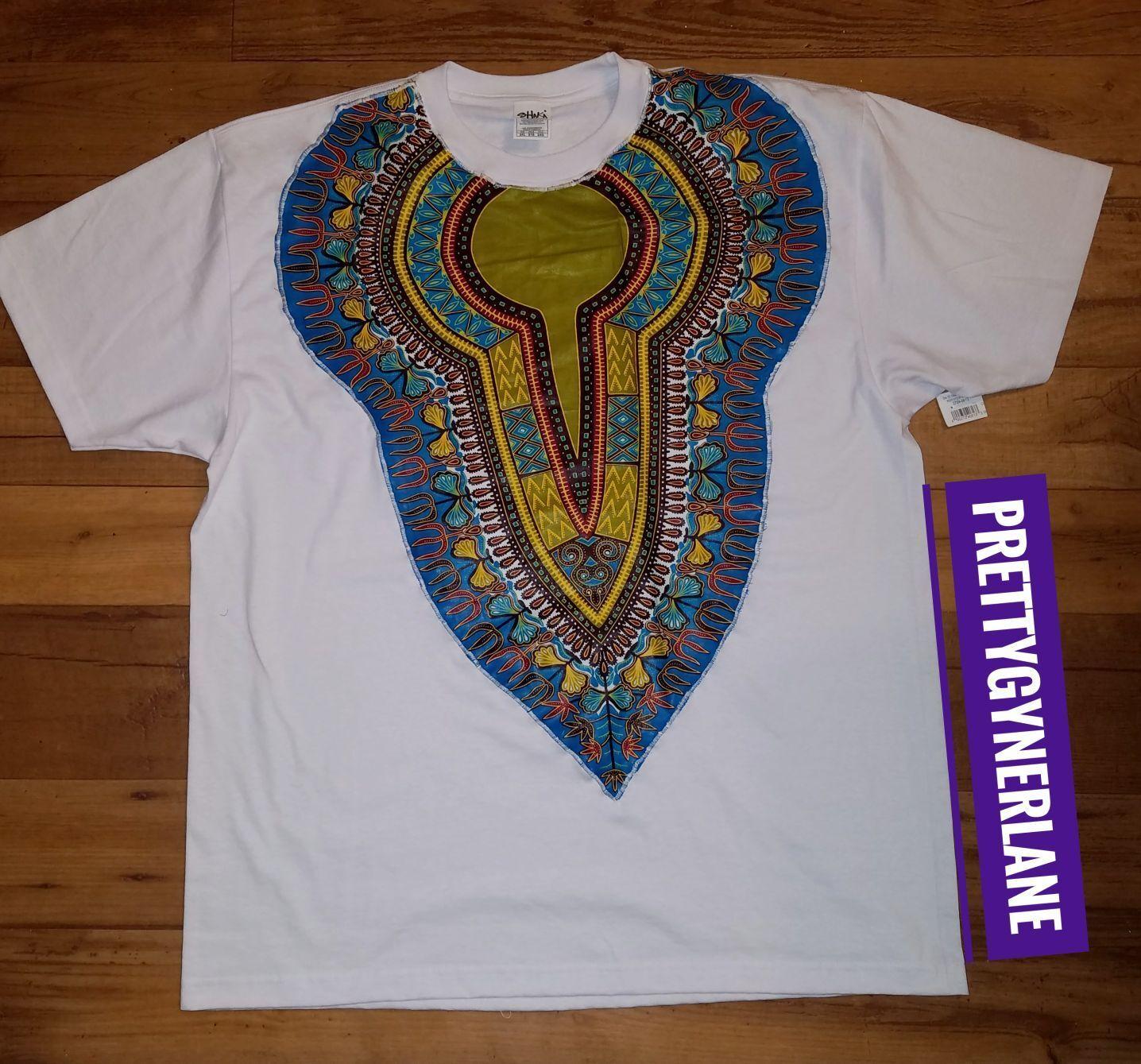 Men's & Women's African Dashiki T-Shirt ( White )