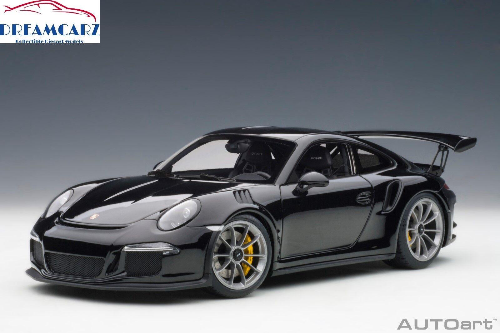 Autoart 78164 1 18 Porsche 911 GT3 RS-Negro Brillante Con Ruedas De Plata