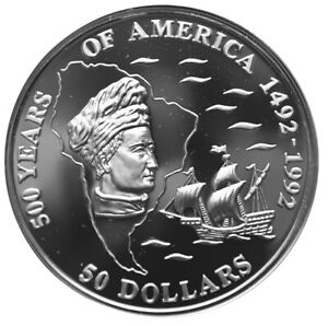COOK-ISLANDS-50-Dollars-1993-Silver-Proof-Discovery-of-America-Amerigo-Vespucci
