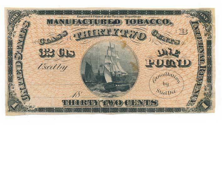 TF18 Series of 1869 Manufactured 32c Tobacco India Proo