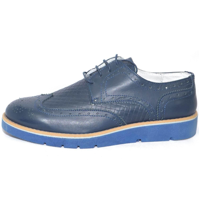 Scarpe uomo blu stringata vera pelle microforata blu uomo made in italy fondo doppio anti 7da729