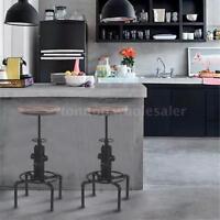 T4 Metal Bar Stool Adjustable Swivel Pinewood Kitchen Dining Chair Barstool on sale
