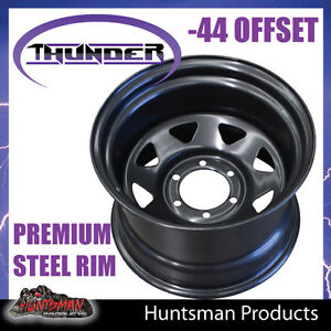 15x10-6-Stud-Black-Thunder-Steel-Wheel-Rim-44-Offset-6-139-7-PCD-Toyota-patrol