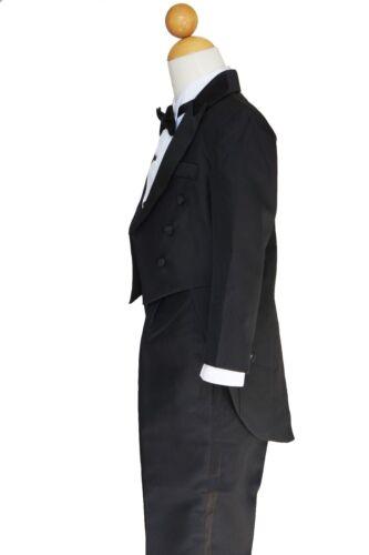 RING BEARER BOYS RECITAL Sz: 2T TO 14 GRADUATION BLACK TUXEDOS With TAILS