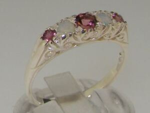 925-Solid-Silver-Natural-Pink-Tourmaline-amp-Opal-Womens-Band-Ring-Sizes-J-to-Z