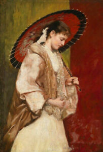 ZWPT1466  100% hand painted Noble girl with umbrella oil painting art on Canvas