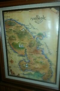 Rare Framed Pictorial Martinique Lithograph Map