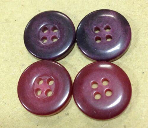 10 x 13mm tonal boutons raisin violet//rouge 4 trous rétro vintage aspect vieilli sew