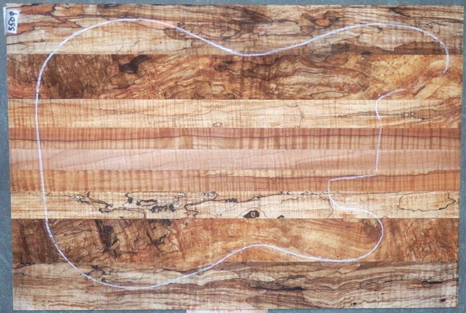 Flame Tiger Curly Maple Wood 5509 Luthier 5A ONE PC. GUITAR TOP 22.5x15.25x.375