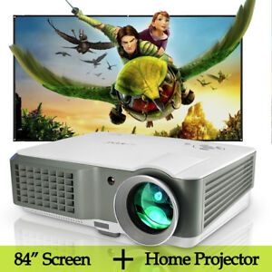 LCD-Home-Theater-Projector-LED-USB-HDMI-TV-and-84-039-039-Projector-Screen-Matte-White
