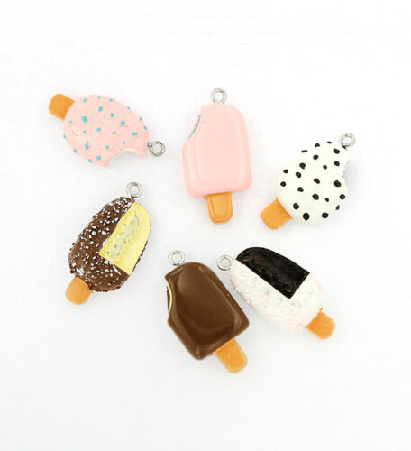 K305 4 Ice Cream Resin Charms Assorted Colors 3D