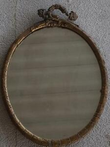 Details About Nice Antique Oval Mirror Wooden Frame Molded Detail Needs Tlc And Repair