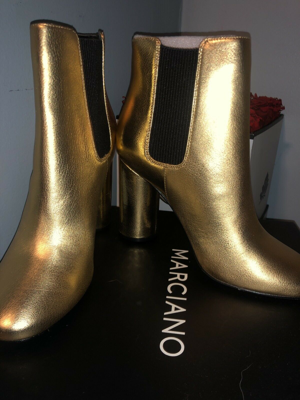 Guess By Marciano Women's Eilana Eilana Eilana Leather Booties In gold Metallic Size 6 49d897