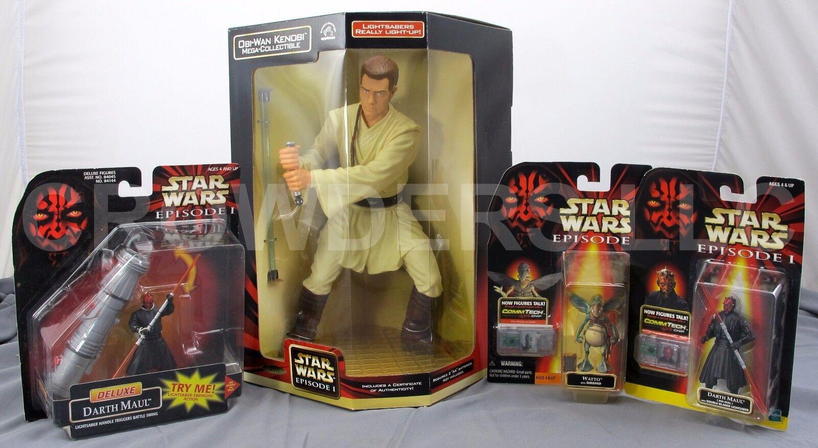 Star Wars Obi Wan Wan Wan Kenobi Mega Collectible Darth Maul Deluxe & Jedi Duel + Watto fd44d0
