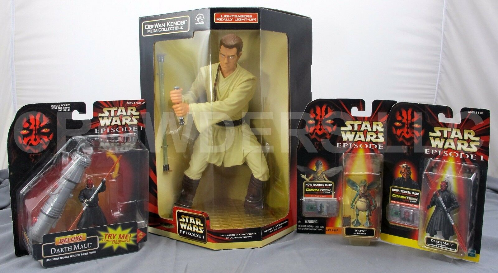 Star wars, obi - wan kenobi mega - sammelfigur darth maul deluxe & jedi - duell + watto