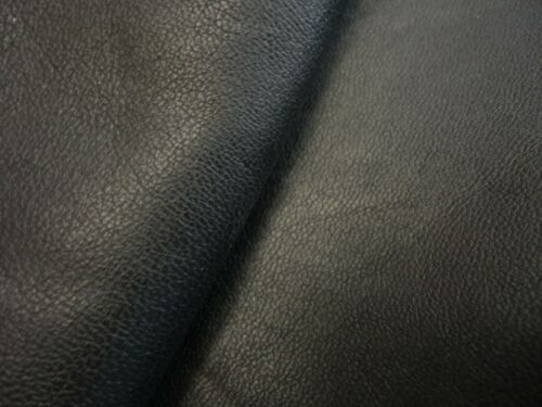 ":BK271 Precut 6.5/"" offcuts of smooth jet black leather 0.8mm 16.5cm"