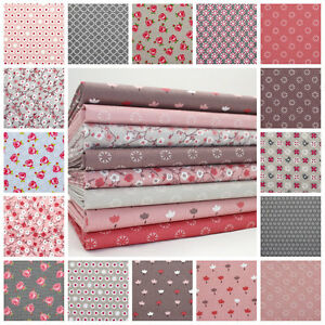 MINKS-amp-PINKS-100-COTTON-SMALL-FLORAL-AND-GEOMETRIC-FABRIC-pink-brown-grey-blue