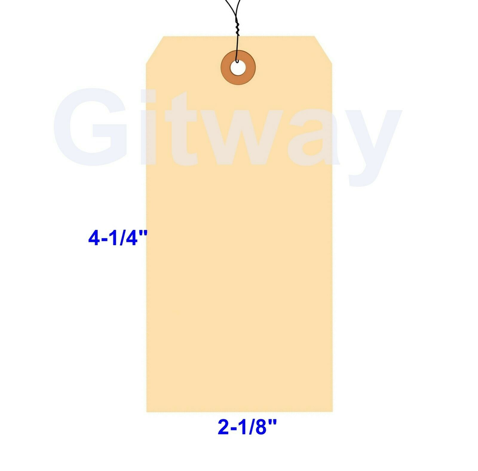 "100-4-1//4/"" x 2-1//8/"" WIRED MANILA TAG HANG LABEL SHIPPING INVENTORY STOCK SIZE 4"