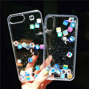 For Iphone 11 Pro Max Xr Xs 7 8 Plus App Icon Quicksand Moving Clear Case Cover Ebay