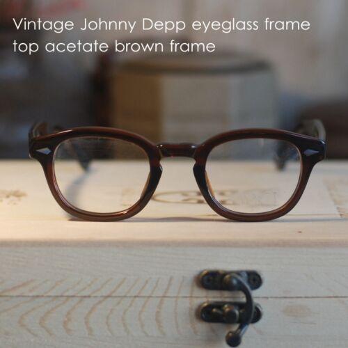Vintage eyeglasses frame Johnny Depp mens womens brown RX optical eyewear 44mm