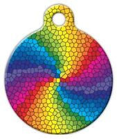 Stained Glass Rainbow - Custom Personalized Pet Id Tag For Dog And Cat Collars