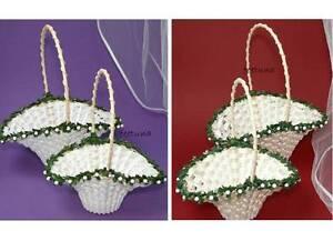 1 o 2 streukörbchen con verde grande o pequeño crema o blanco boda flores niño  </span>