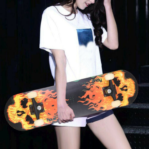 Ready to ride New Adult Complete Skateboard Stained BLACK 31.5in Skateboards