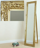 Portland Free Standing Cheval Roccoco Shabby Chic Long Mirror Gold 170cm X 45cm